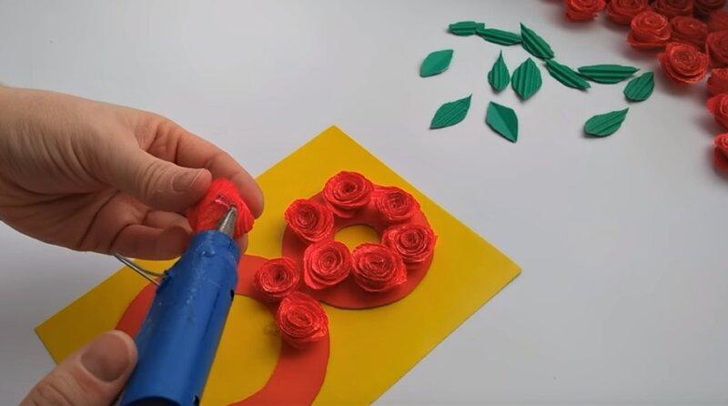 приклеивание цветочков