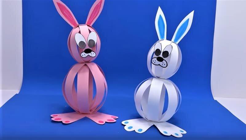 объемные кролики из бумаги