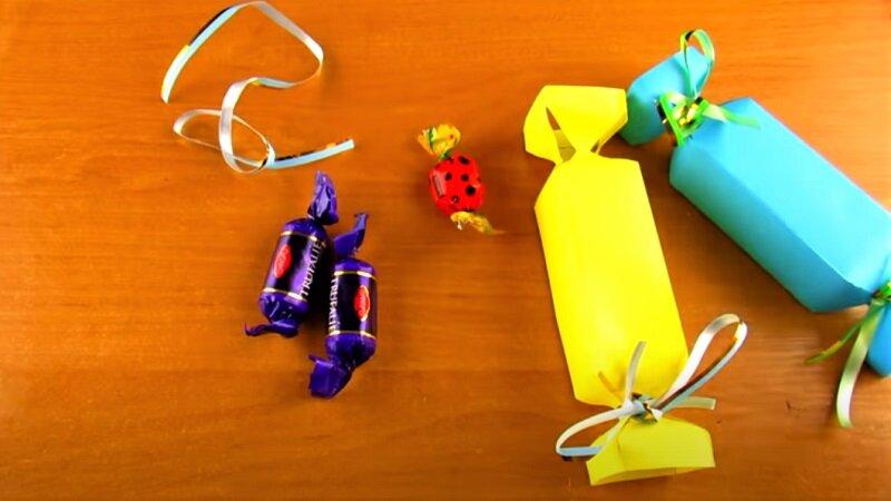 конфета из бумаги желтая