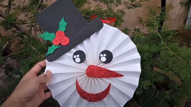 снеговик из бумаги на новый год
