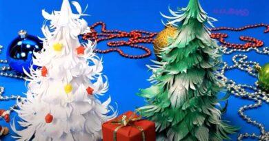 елки из бумаги с игрушками