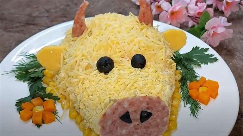 салат в виде быка