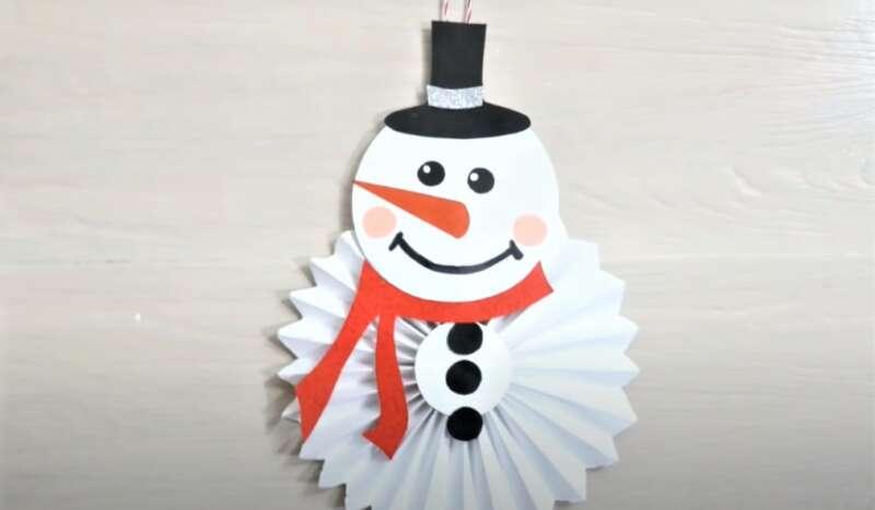 снеговик на Новый год из бумаги