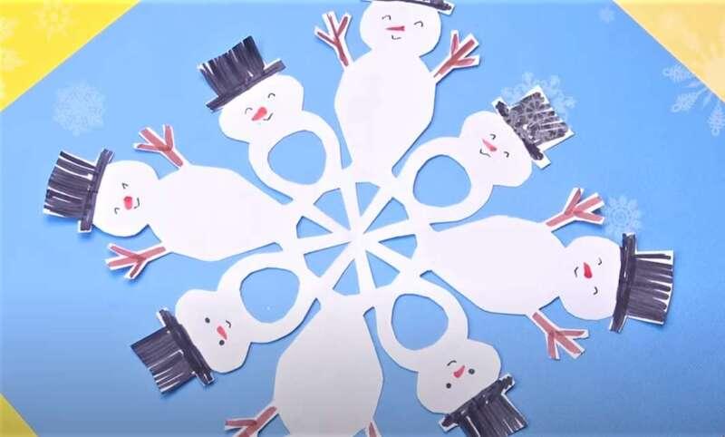 снежинка - снеговики из бумаги