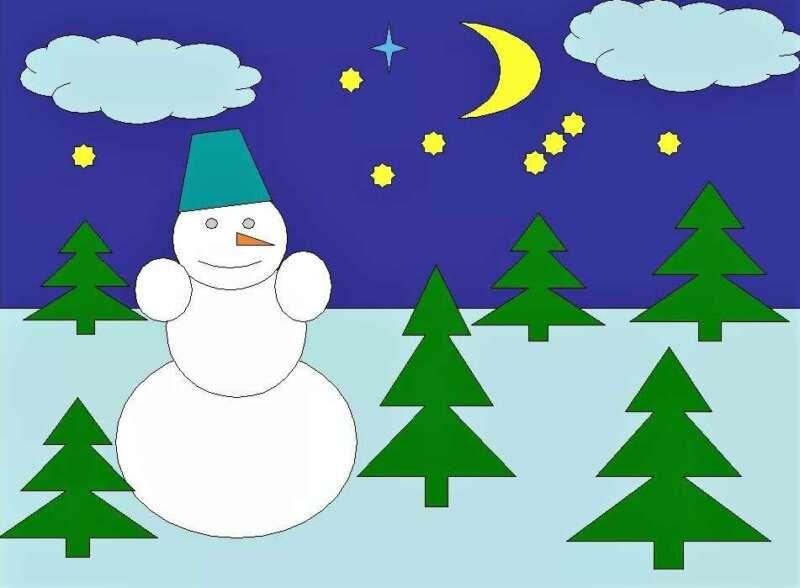снеговик и елочки