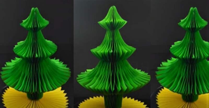 объемные елки из бумаги