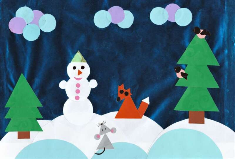 аппликация снеговика и лисички