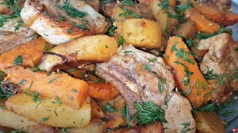 блюдо тыквы с мясом