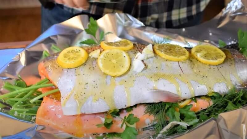 лимон на рыбе