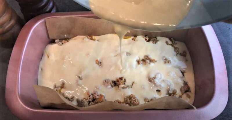заливной пирог с фаршем в сыром виде