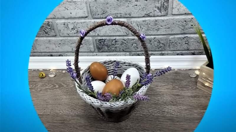 пасхальный декор в виде пасхальной корзинки